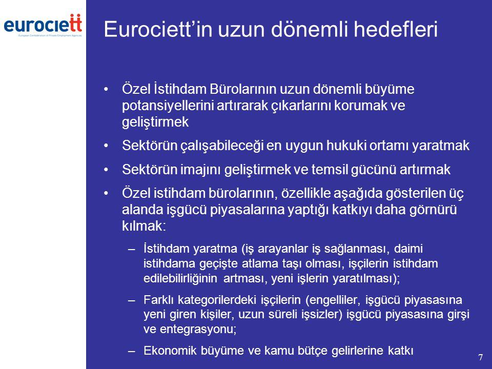 7 Eurociett'in uzun dönemli hedefleri Özel İstihdam Bürolarının uzun dönemli büyüme potansiyellerini artırarak çıkarlarını korumak ve geliştirmek Sekt