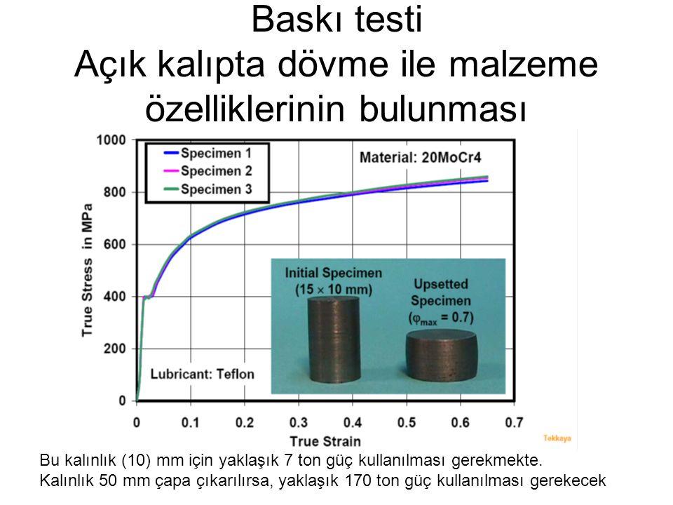 Bu kalınlık (10) mm için yaklaşık 7 ton güç kullanılması gerekmekte. Kalınlık 50 mm çapa çıkarılırsa, yaklaşık 170 ton güç kullanılması gerekecek