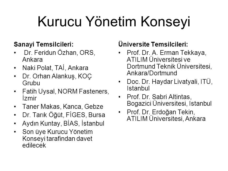 Kurucu Yönetim Konseyi Sanayi Temsilcileri: Dr. Feridun Özhan, ORS, Ankara Naki Polat, TAİ, Ankara Dr. Orhan Alankuş, KOÇ Grubu Fatih Uysal, NORM Fast