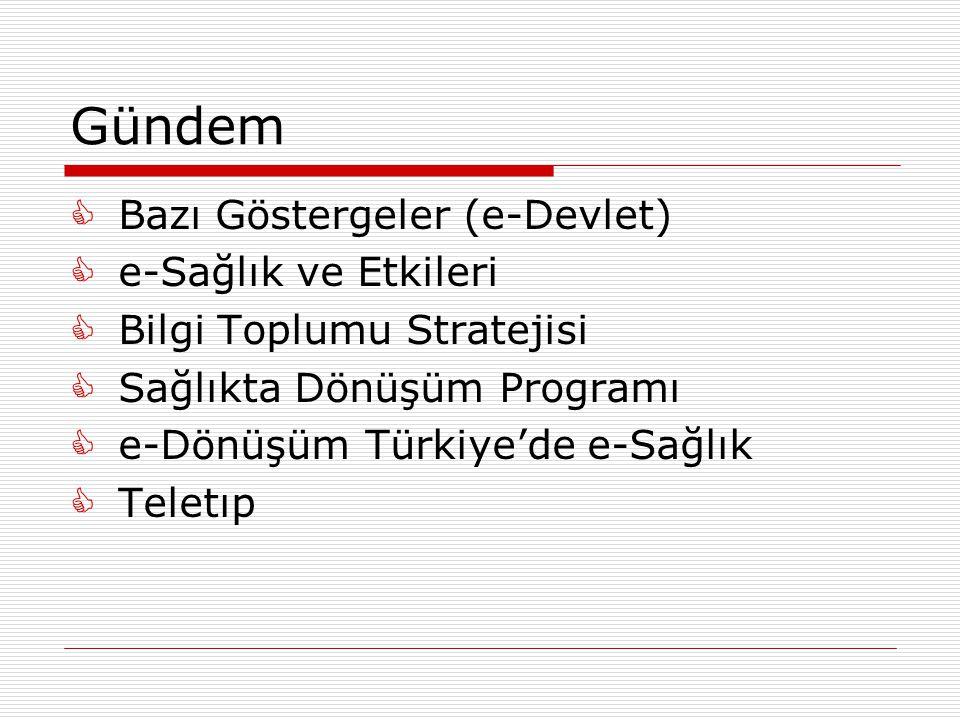 Gündem  Bazı Göstergeler (e-Devlet)  e-Sağlık ve Etkileri  Bilgi Toplumu Stratejisi  Sağlıkta Dönüşüm Programı  e-Dönüşüm Türkiye'de e-Sağlık  Teletıp