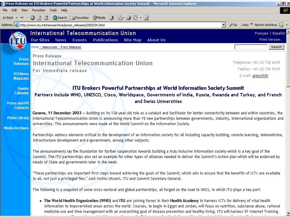  Uluslararası Telekomünikasyon Birliği (ITU) ile işbirliği