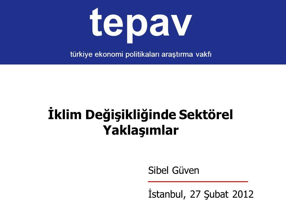 tepav türkiye ekonomi politikaları araştırma vakfı İklim Değişikliğinde Sektörel Yaklaşımlar Sibel Güven İstanbul, 27 Şubat 2012