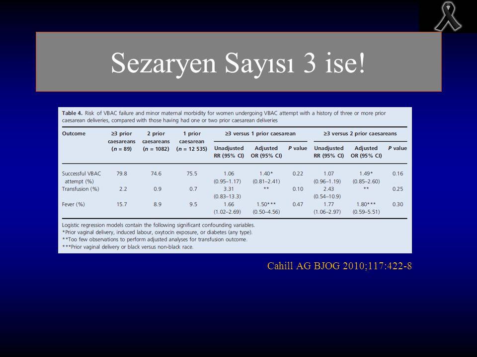 Sezaryen Sayısı 3 ise! Cahill AG BJOG 2010;117:422-8