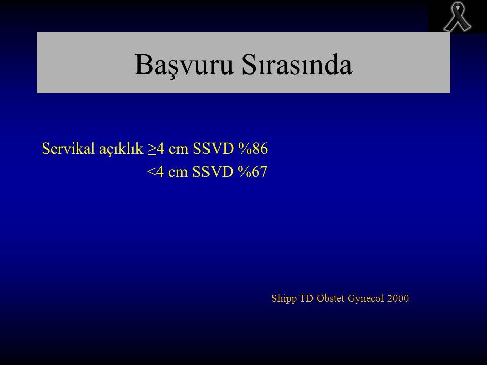 Başvuru Sırasında Servikal açıklık ≥4 cm SSVD %86 <4 cm SSVD %67 Shipp TD Obstet Gynecol 2000