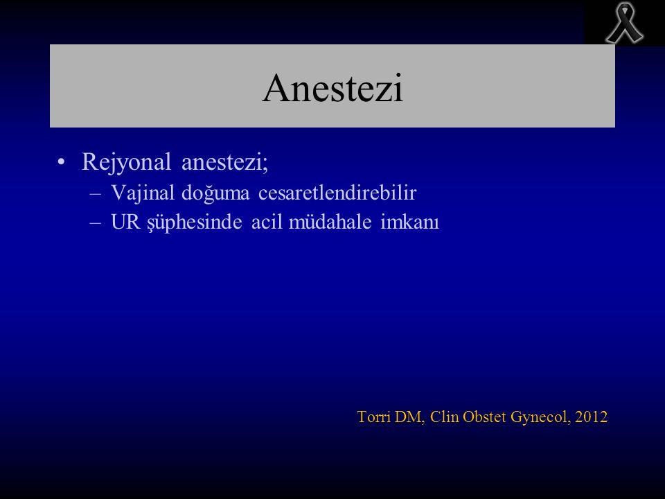 Anestezi Rejyonal anestezi; –Vajinal doğuma cesaretlendirebilir –UR şüphesinde acil müdahale imkanı Torri DM, Clin Obstet Gynecol, 2012