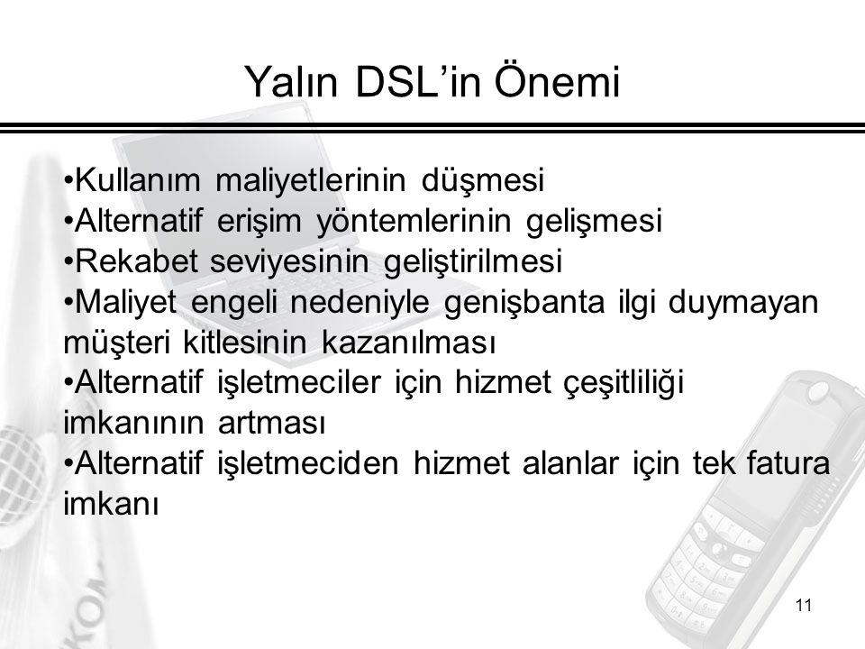 11 Yalın DSL'in Önemi Kullanım maliyetlerinin düşmesi Alternatif erişim yöntemlerinin gelişmesi Rekabet seviyesinin geliştirilmesi Maliyet engeli nede