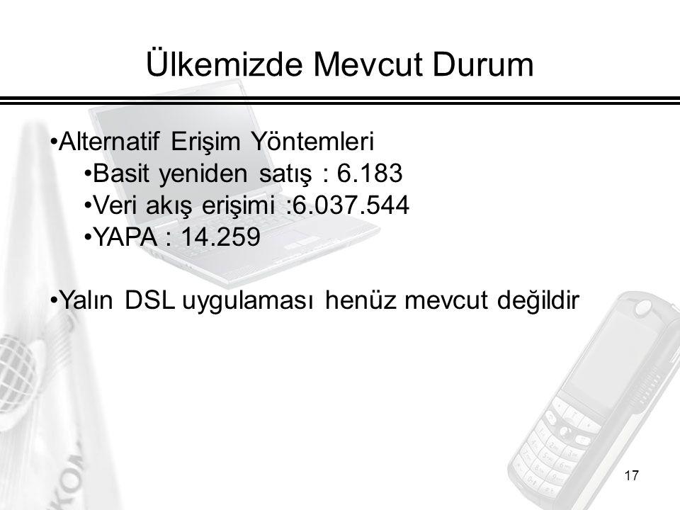 17 Ülkemizde Mevcut Durum Alternatif Erişim Yöntemleri Basit yeniden satış : 6.183 Veri akış erişimi :6.037.544 YAPA : 14.259 Yalın DSL uygulaması henüz mevcut değildir