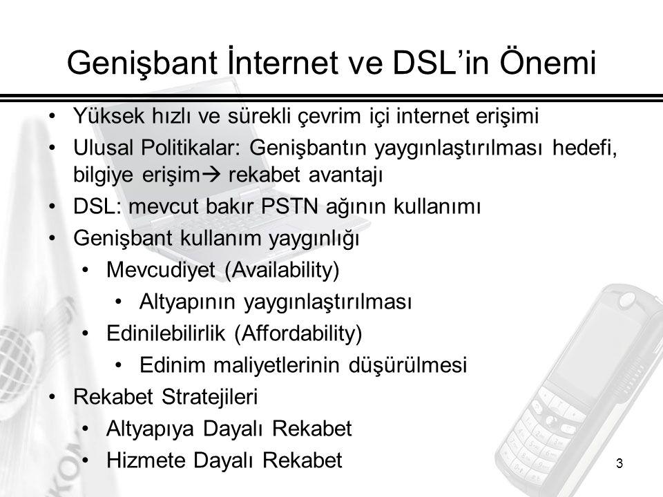 3 Genişbant İnternet ve DSL'in Önemi Yüksek hızlı ve sürekli çevrim içi internet erişimi Ulusal Politikalar: Genişbantın yaygınlaştırılması hedefi, bilgiye erişim  rekabet avantajı DSL: mevcut bakır PSTN ağının kullanımı Genişbant kullanım yaygınlığı Mevcudiyet (Availability) Altyapının yaygınlaştırılması Edinilebilirlik (Affordability) Edinim maliyetlerinin düşürülmesi Rekabet Stratejileri Altyapıya Dayalı Rekabet Hizmete Dayalı Rekabet