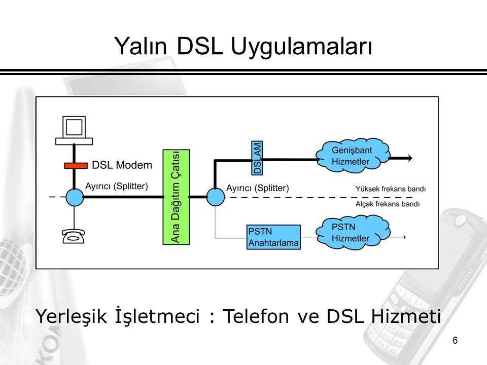 6 Yalın DSL Uygulamaları Yerleşik İşletmeci : Telefon ve DSL Hizmeti