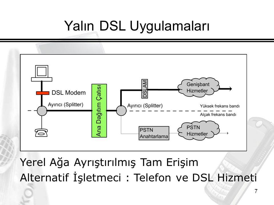 7 Yalın DSL Uygulamaları Yerel Ağa Ayrıştırılmış Tam Erişim Alternatif İşletmeci : Telefon ve DSL Hizmeti
