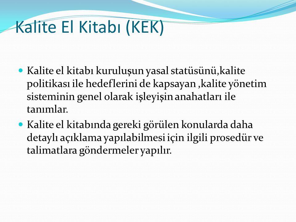 Kalite El Kitabı (KEK) Kalite el kitabı kuruluşun yasal statüsünü,kalite politikası ile hedeflerini de kapsayan,kalite yönetim sisteminin genel olarak işleyişin anahatları ile tanımlar.