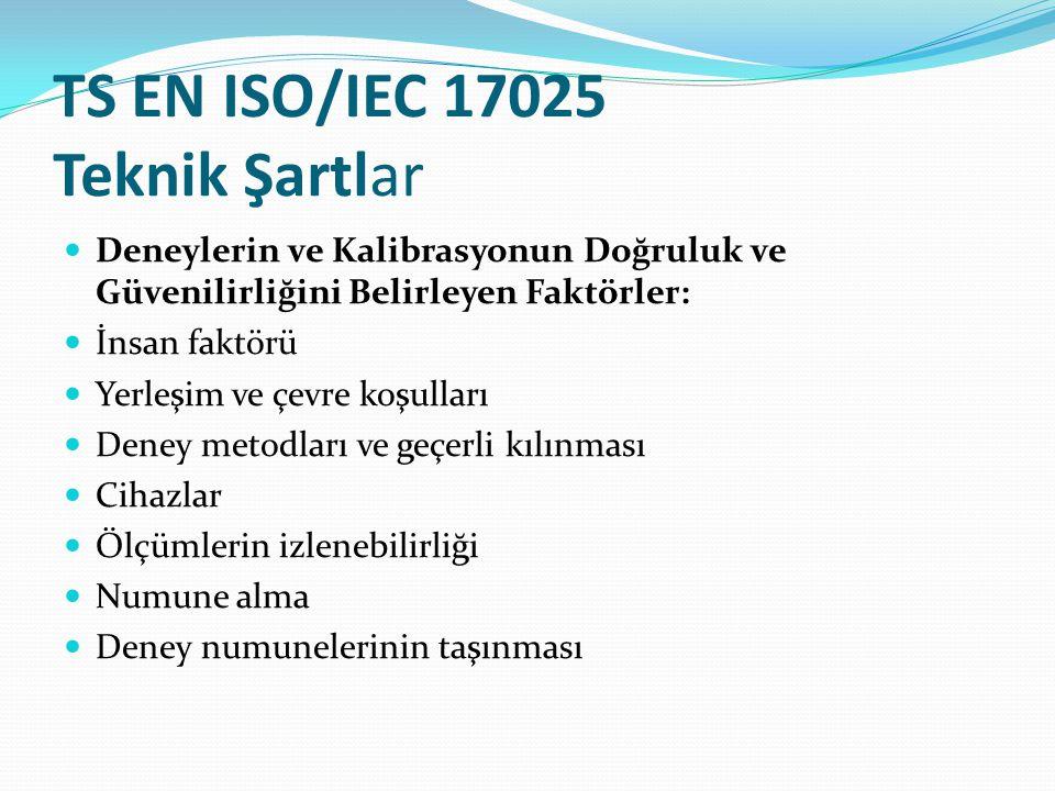 TS EN ISO/IEC 17025 Teknik Şartlar Deneylerin ve Kalibrasyonun Doğruluk ve Güvenilirliğini Belirleyen Faktörler: İnsan faktörü Yerleşim ve çevre koşulları Deney metodları ve geçerli kılınması Cihazlar Ölçümlerin izlenebilirliği Numune alma Deney numunelerinin taşınması