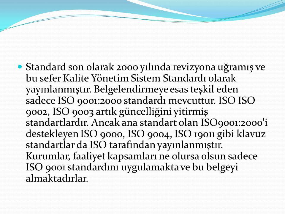 Standard son olarak 2000 yılında revizyona uğramış ve bu sefer Kalite Yönetim Sistem Standardı olarak yayınlanmıştır.