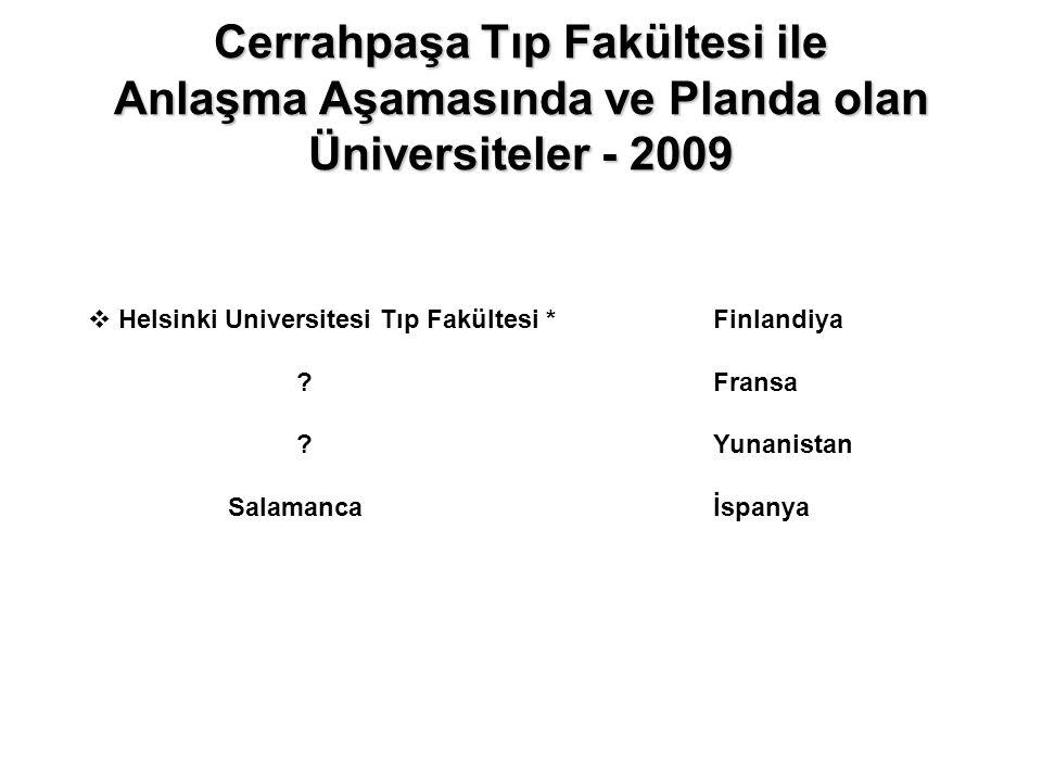 Cerrahpaşa Tıp Fakültesi ile Anlaşma Aşamasında ve Planda olan Üniversiteler - 2009  Helsinki Universitesi Tıp Fakültesi *Finlandiya ?Fransa ?Yunanis