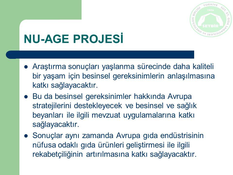 NU-AGE PROJESİ Araştırma sonuçları yaşlanma sürecinde daha kaliteli bir yaşam için besinsel gereksinimlerin anlaşılmasına katkı sağlayacaktır.