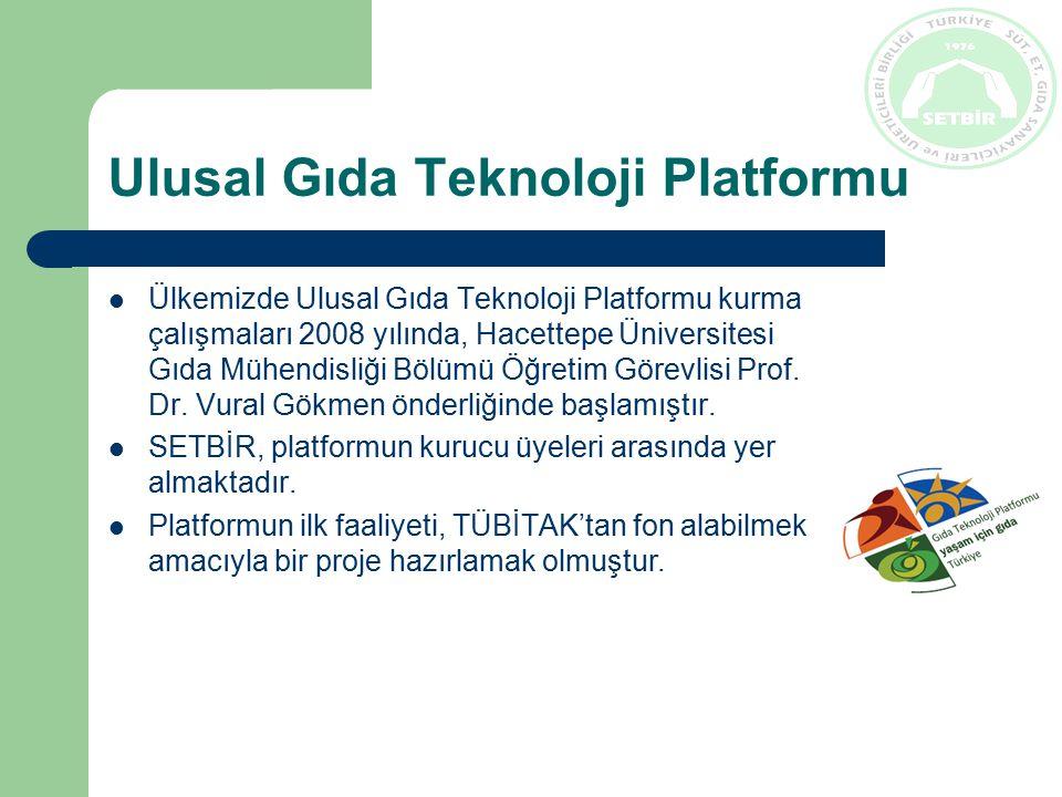 Ulusal Gıda Teknoloji Platformu Ülkemizde Ulusal Gıda Teknoloji Platformu kurma çalışmaları 2008 yılında, Hacettepe Üniversitesi Gıda Mühendisliği Bölümü Öğretim Görevlisi Prof.