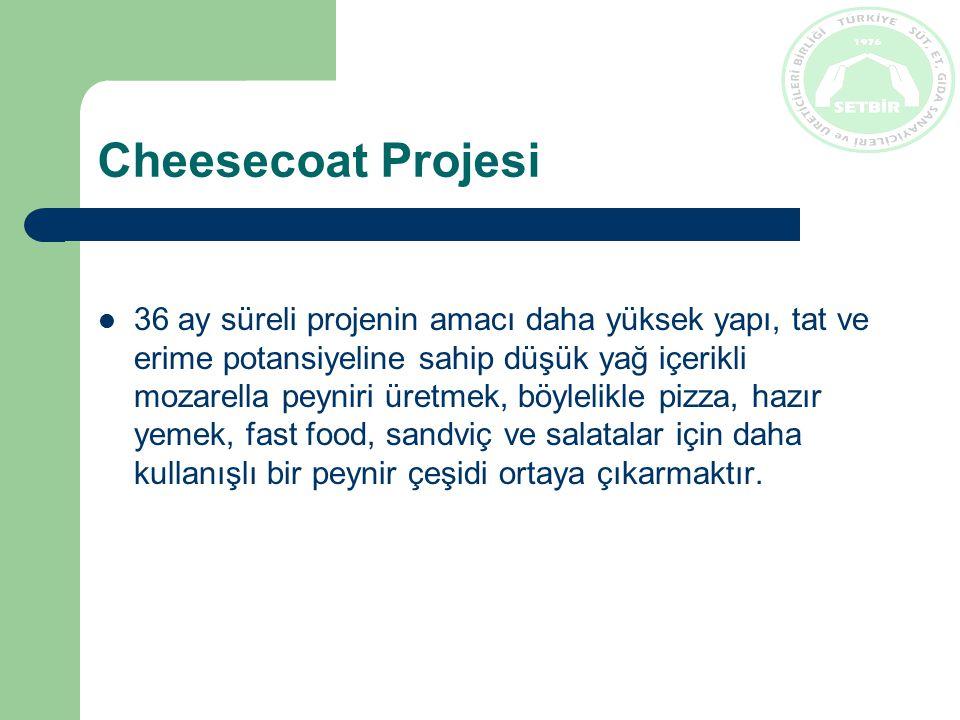 Cheesecoat Projesi 36 ay süreli projenin amacı daha yüksek yapı, tat ve erime potansiyeline sahip düşük yağ içerikli mozarella peyniri üretmek, böylelikle pizza, hazır yemek, fast food, sandviç ve salatalar için daha kullanışlı bir peynir çeşidi ortaya çıkarmaktır.