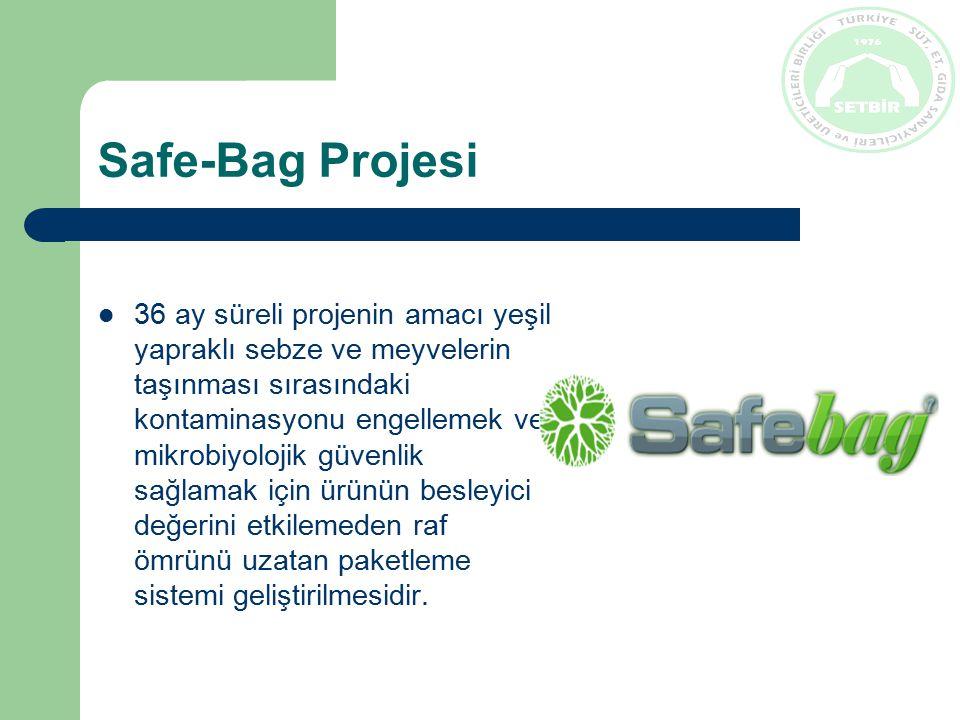 Safe-Bag Projesi 36 ay süreli projenin amacı yeşil yapraklı sebze ve meyvelerin taşınması sırasındaki kontaminasyonu engellemek ve mikrobiyolojik güvenlik sağlamak için ürünün besleyici değerini etkilemeden raf ömrünü uzatan paketleme sistemi geliştirilmesidir.