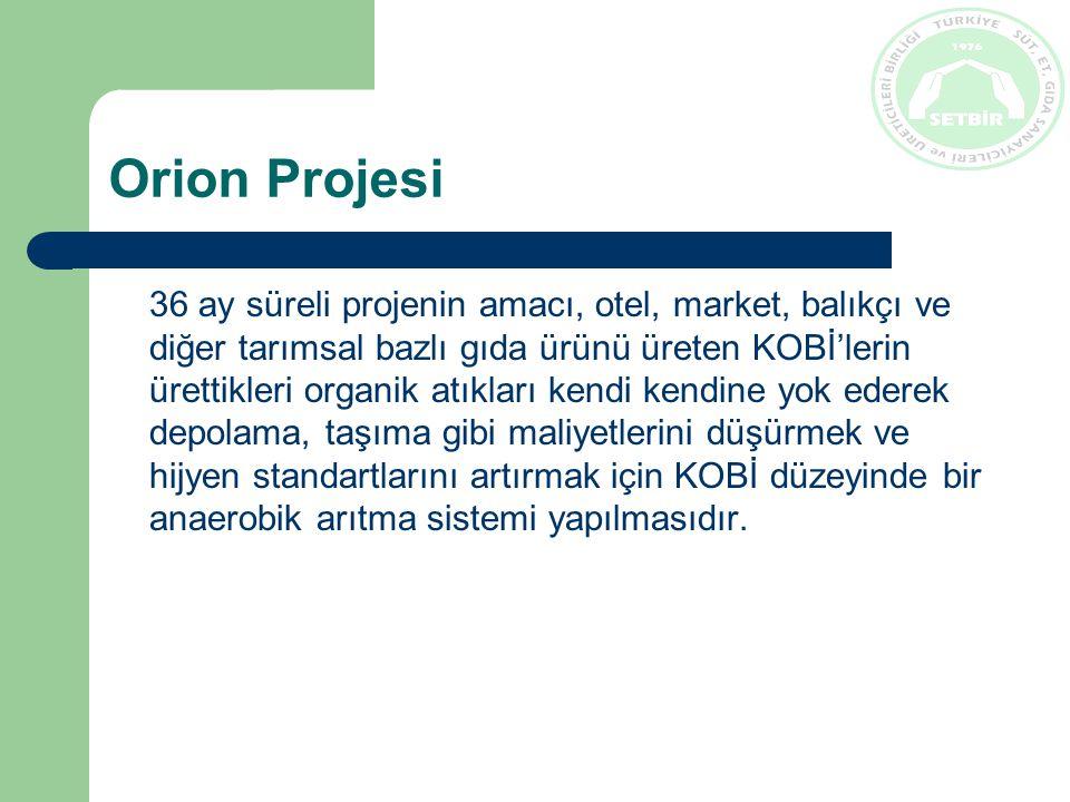 Orion Projesi 36 ay süreli projenin amacı, otel, market, balıkçı ve diğer tarımsal bazlı gıda ürünü üreten KOBİ'lerin ürettikleri organik atıkları kendi kendine yok ederek depolama, taşıma gibi maliyetlerini düşürmek ve hijyen standartlarını artırmak için KOBİ düzeyinde bir anaerobik arıtma sistemi yapılmasıdır.