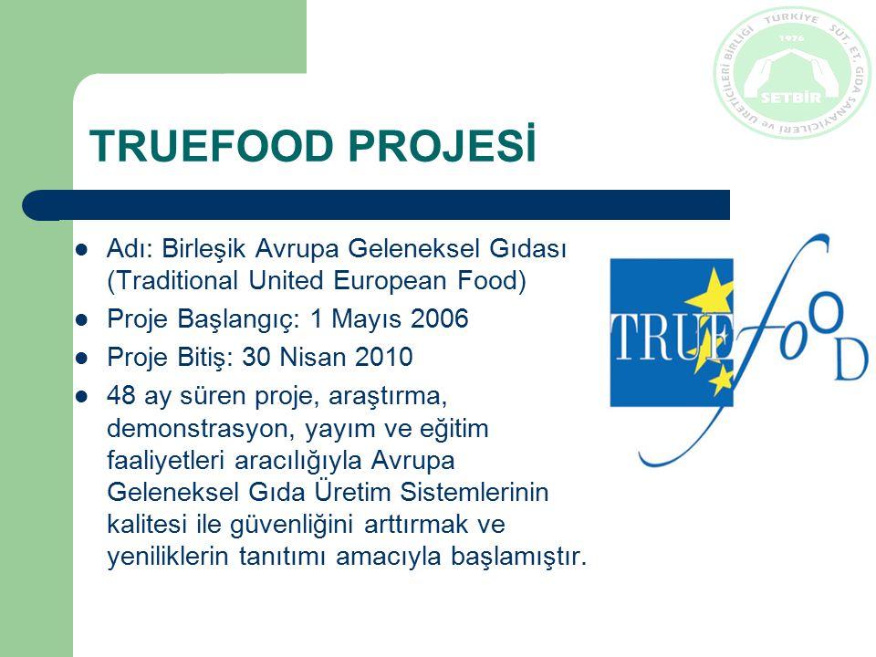 TRUEFOOD PROJESİ Adı: Birleşik Avrupa Geleneksel Gıdası (Traditional United European Food) Proje Başlangıç: 1 Mayıs 2006 Proje Bitiş: 30 Nisan 2010 48 ay süren proje, araştırma, demonstrasyon, yayım ve eğitim faaliyetleri aracılığıyla Avrupa Geleneksel Gıda Üretim Sistemlerinin kalitesi ile güvenliğini arttırmak ve yeniliklerin tanıtımı amacıyla başlamıştır.