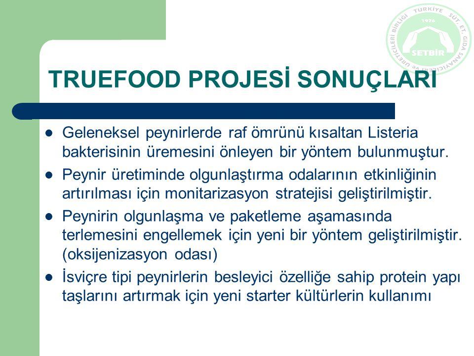 TRUEFOOD PROJESİ SONUÇLARI Hammadde seçiminde x-ışınları metodu kullanılarak kurutulmuş kürlenmiş kırmızı et ürünleri üretiminin endüstriyel bazda standardize edilmesi Sütün fiziksel ve duyusal özelliklerini değiştirmeden, memede hastalık (mastitis) oluşmasına sebep olan bakterileri engelleyen bir kimyasalın bulunması Proje kapsamında geliştirilen, bulunan yöntemlerin çevre, insan ve ekonomi üzerine etkileri Geleneksel gıdalarda pazarlama ve tedarik zinciri yönetiminin geliştirilmesi