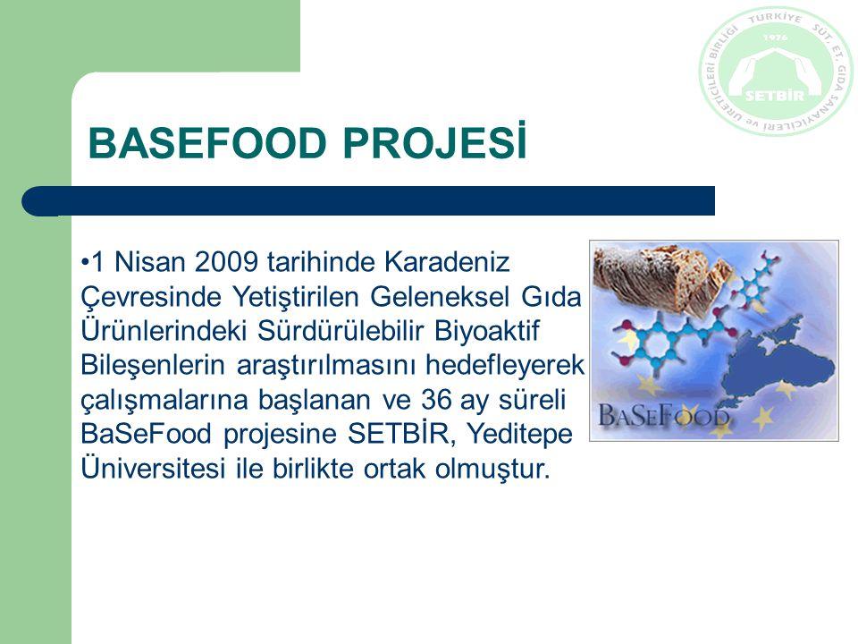 BASEFOOD PROJESİ 1 Nisan 2009 tarihinde Karadeniz Çevresinde Yetiştirilen Geleneksel Gıda Ürünlerindeki Sürdürülebilir Biyoaktif Bileşenlerin araştırılmasını hedefleyerek çalışmalarına başlanan ve 36 ay süreli BaSeFood projesine SETBİR, Yeditepe Üniversitesi ile birlikte ortak olmuştur.