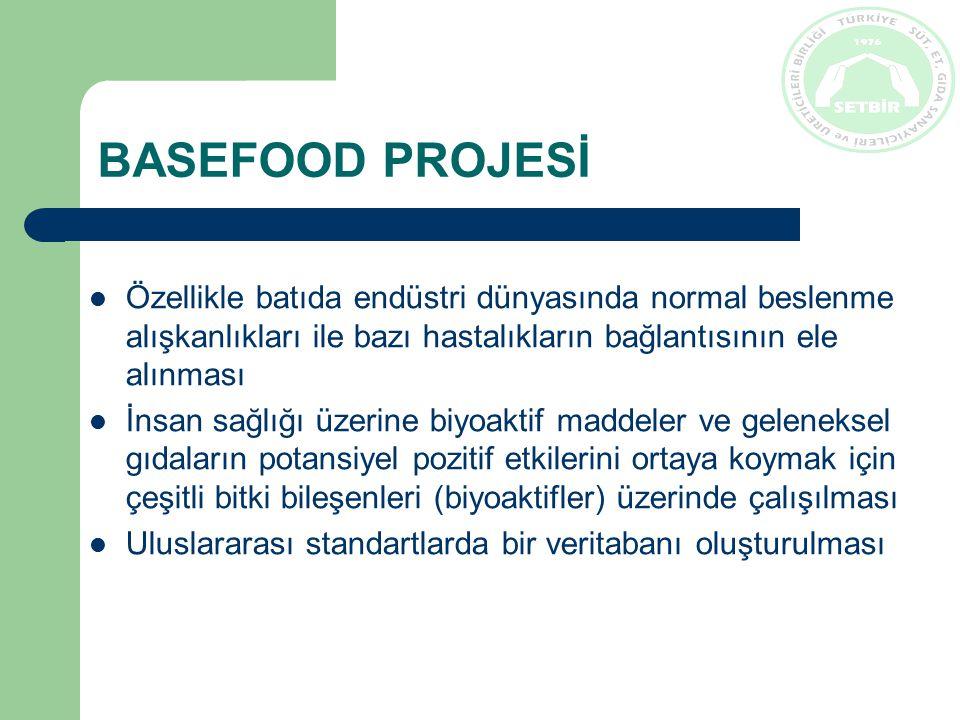 BASEFOOD PROJESİ Özellikle batıda endüstri dünyasında normal beslenme alışkanlıkları ile bazı hastalıkların bağlantısının ele alınması İnsan sağlığı üzerine biyoaktif maddeler ve geleneksel gıdaların potansiyel pozitif etkilerini ortaya koymak için çeşitli bitki bileşenleri (biyoaktifler) üzerinde çalışılması Uluslararası standartlarda bir veritabanı oluşturulması