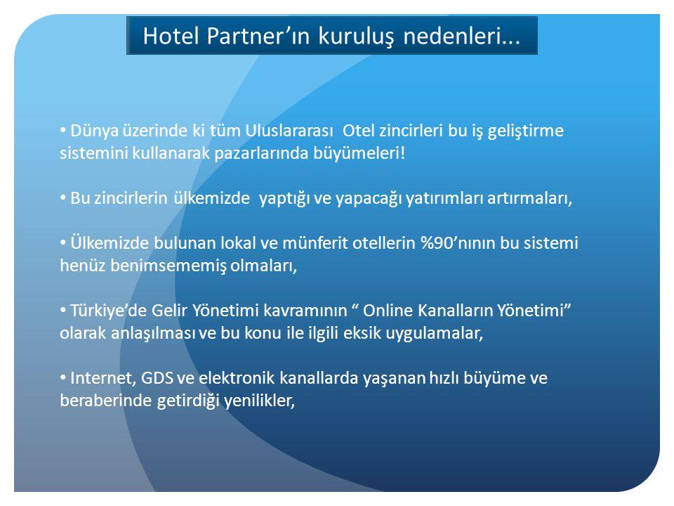 Her geçen gün artan lokal otel zincirleri ve bu zincirlerin gereksim duydukları verimli İş Geliştirme yapısı, Şehir otelciliğinde yaşanan büyüme ( tüm Türkiye ) ve bu büyümenin olmazsa olmazı İş Geliştirme , Ülkemizde Yield Management ve de Revenue Management adı altında yetişmiş iş gücünün yetersiz olması Otel Yönetimlerinin verileri doğru görmesini sağlamak ve doğru analizlerle Gelirlerini Maksimuma çıkarmalarında pay sahibi olmak Hotel Partner'ın kuruluş nedenleri...