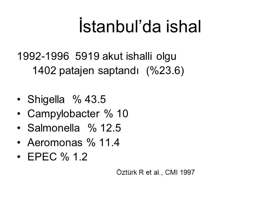 İstanbul'da ishal 1992-1996 5919 akut ishalli olgu 1402 patajen saptandı (%23.6) Shigella % 43.5 Campylobacter % 10 Salmonella % 12.5 Aeromonas % 11.4