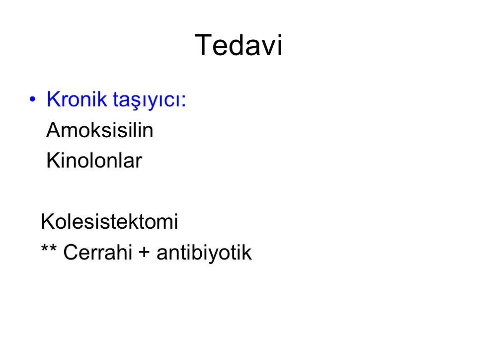 Tedavi Kronik taşıyıcı: Amoksisilin Kinolonlar Kolesistektomi ** Cerrahi + antibiyotik