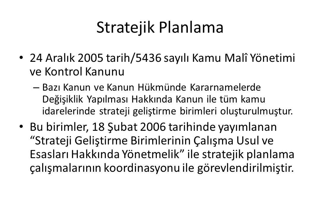 Stratejik Planlama 24 Aralık 2005 tarih/5436 sayılı Kamu Malî Yönetimi ve Kontrol Kanunu – Bazı Kanun ve Kanun Hükmünde Kararnamelerde Değişiklik Yapı