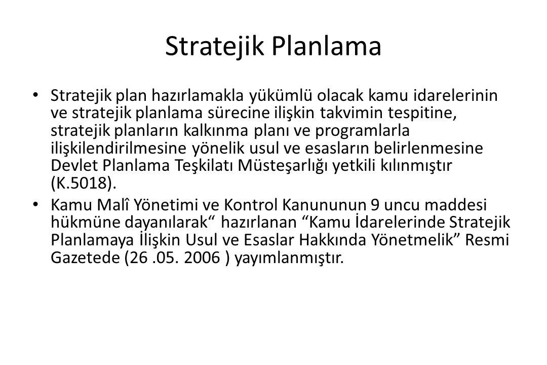 Stratejik Planlama Stratejik plan hazırlamakla yükümlü olacak kamu idarelerinin ve stratejik planlama sürecine ilişkin takvimin tespitine, stratejik p