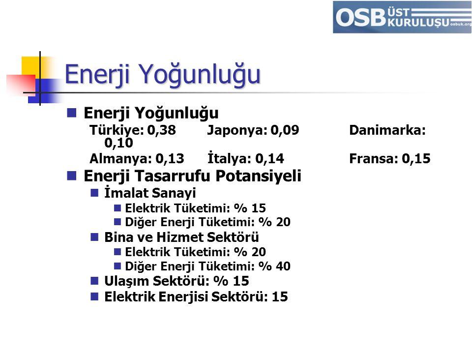 Enerji Yoğunluğu Türkiye: 0,38Japonya: 0,09Danimarka: 0,10 Almanya: 0,13İtalya: 0,14Fransa: 0,15 Enerji Tasarrufu Potansiyeli İmalat Sanayi Elektrik T