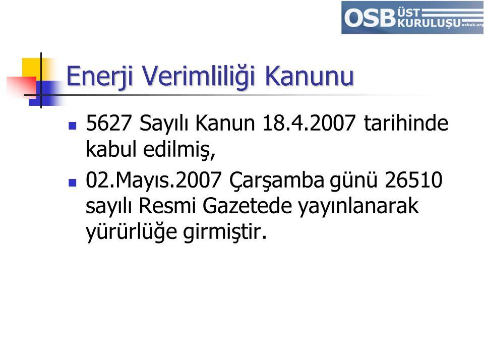 Enerji Verimliliği Kanunu 5627 Sayılı Kanun 18.4.2007 tarihinde kabul edilmiş, 02.Mayıs.2007 Çarşamba günü 26510 sayılı Resmi Gazetede yayınlanarak yü