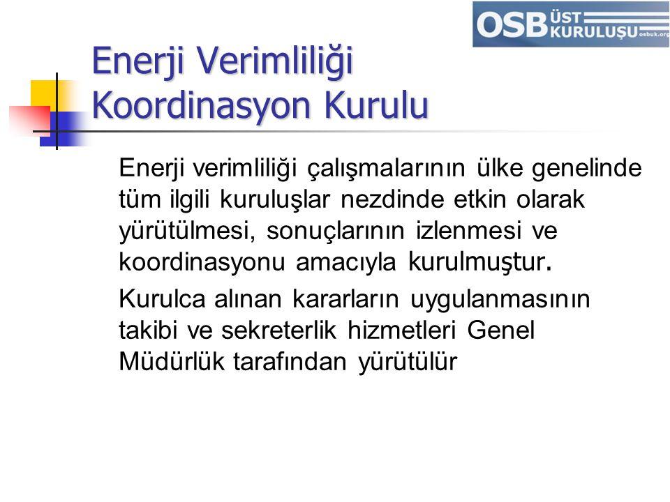 Enerji Verimliliği Koordinasyon Kurulu Enerji verimliliği çalışmalarının ülke genelinde tüm ilgili kuruluşlar nezdinde etkin olarak yürütülmesi, sonuç