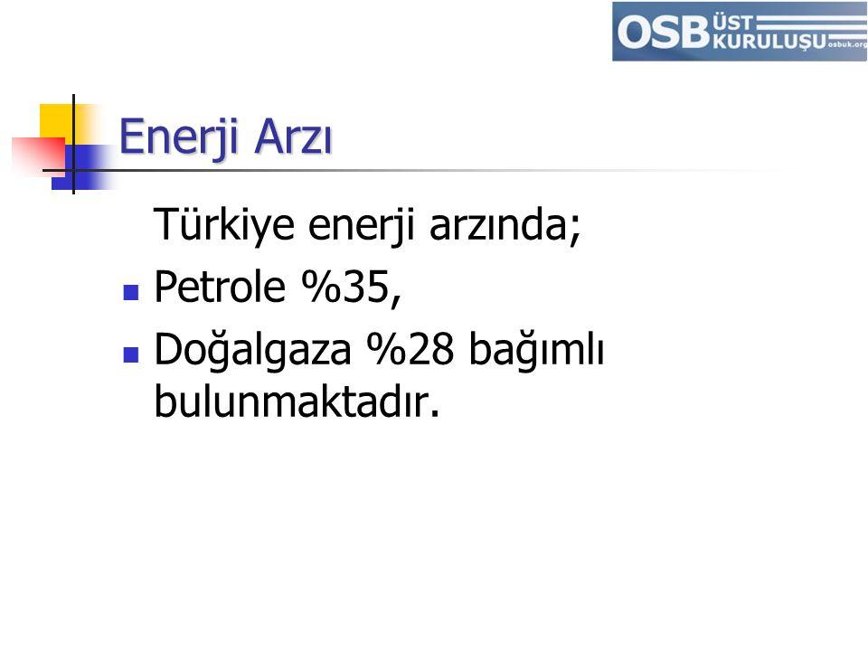 Enerji Arzı Türkiye enerji arzında; Petrole %35, Doğalgaza %28 bağımlı bulunmaktadır.