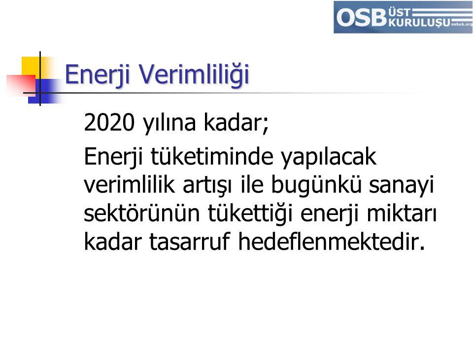 Enerji Verimliliği 2020 yılına kadar; Enerji tüketiminde yapılacak verimlilik artışı ile bugünkü sanayi sektörünün tükettiği enerji miktarı kadar tasa