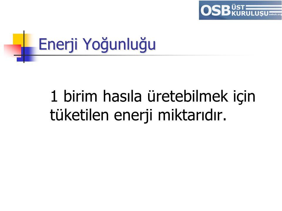 Enerji Yoğunluğu 1 birim hasıla üretebilmek için tüketilen enerji miktarıdır.