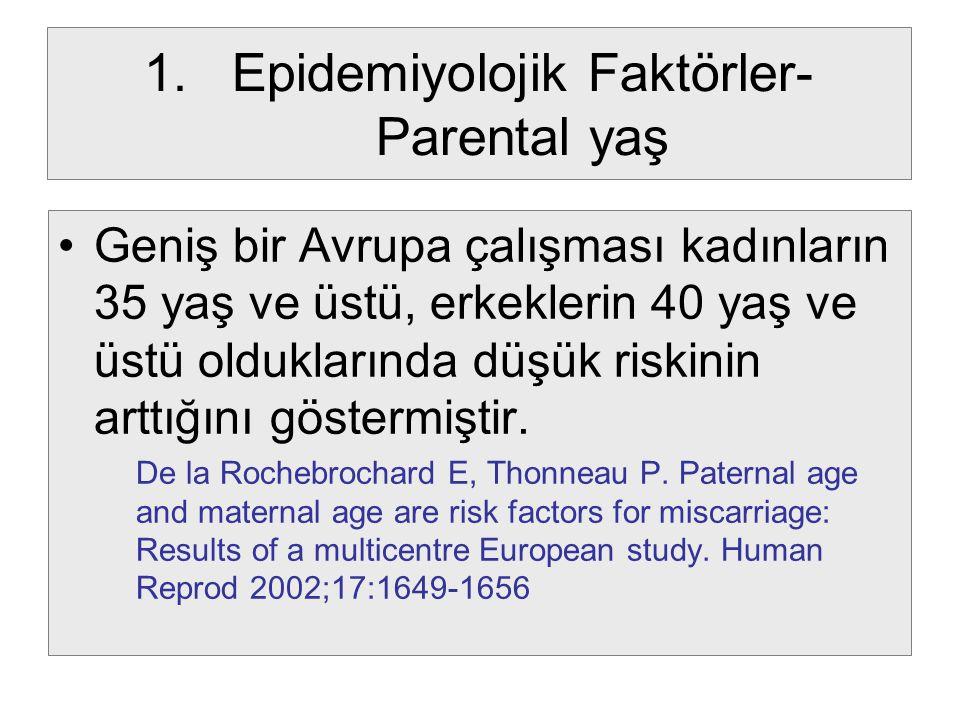 1.Epidemiyolojik Faktörler- Parental yaş Geniş bir Avrupa çalışması kadınların 35 yaş ve üstü, erkeklerin 40 yaş ve üstü olduklarında düşük riskinin a