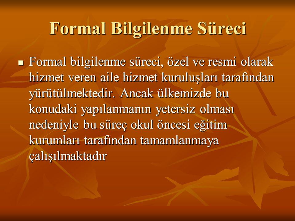 Formal Bilgilenme Süreci Formal bilgilenme süreci, özel ve resmi olarak hizmet veren aile hizmet kuruluşları tarafından yürütülmektedir. Ancak ülkemiz