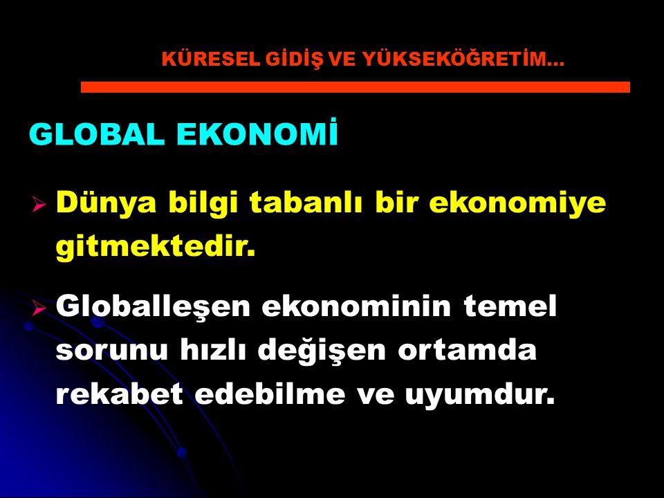 GLOBAL EKONOMİ  Dünya bilgi tabanlı bir ekonomiye gitmektedir.  Globalleşen ekonominin temel sorunu hızlı değişen ortamda rekabet edebilme ve uyumdu