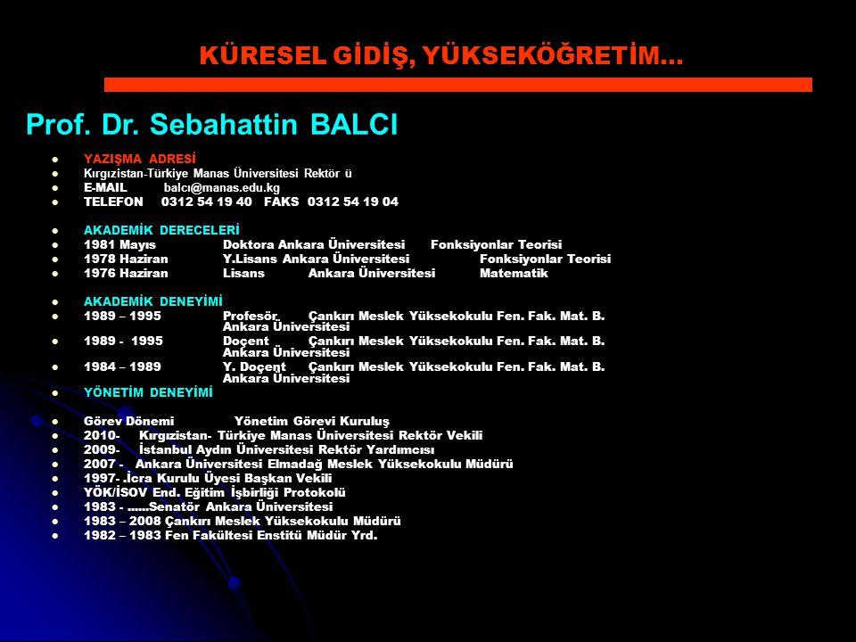 YAZIŞMA ADRESİ Kırgızistan-Türkiye Manas Üniversitesi Rektör ü E-MAIL balcı@manas.edu.kg TELEFON 0312 54 19 40 FAKS 0312 54 19 04 AKADEMİK DERECELERİ
