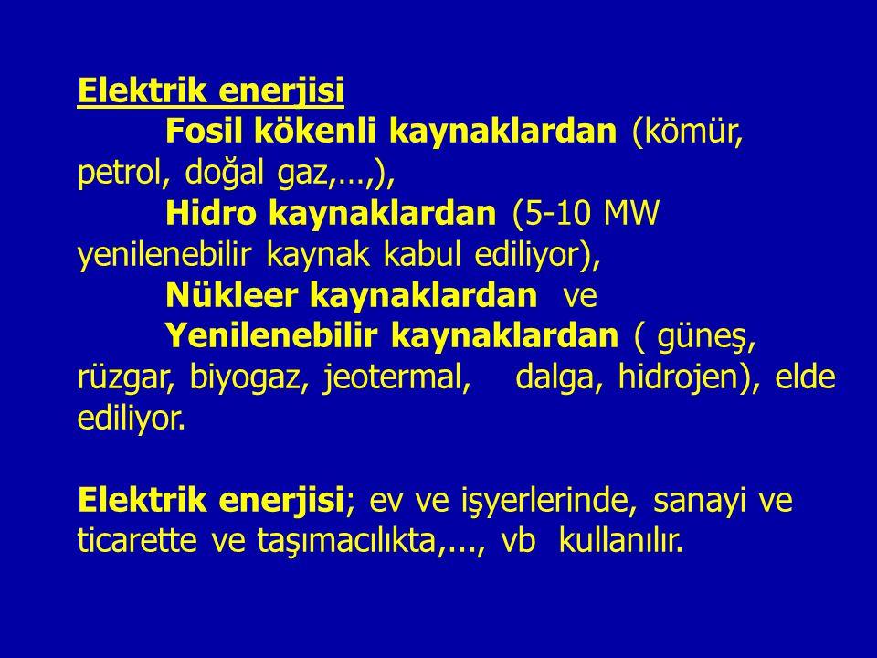 Elektrik enerjisi Fosil kökenli kaynaklardan (kömür, petrol, doğal gaz,…,), Hidro kaynaklardan (5-10 MW yenilenebilir kaynak kabul ediliyor), Nükleer