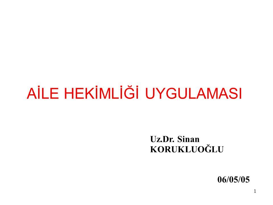 1 AİLE HEKİMLİĞİ UYGULAMASI Uz.Dr. Sinan KORUKLUOĞLU 06/05/05