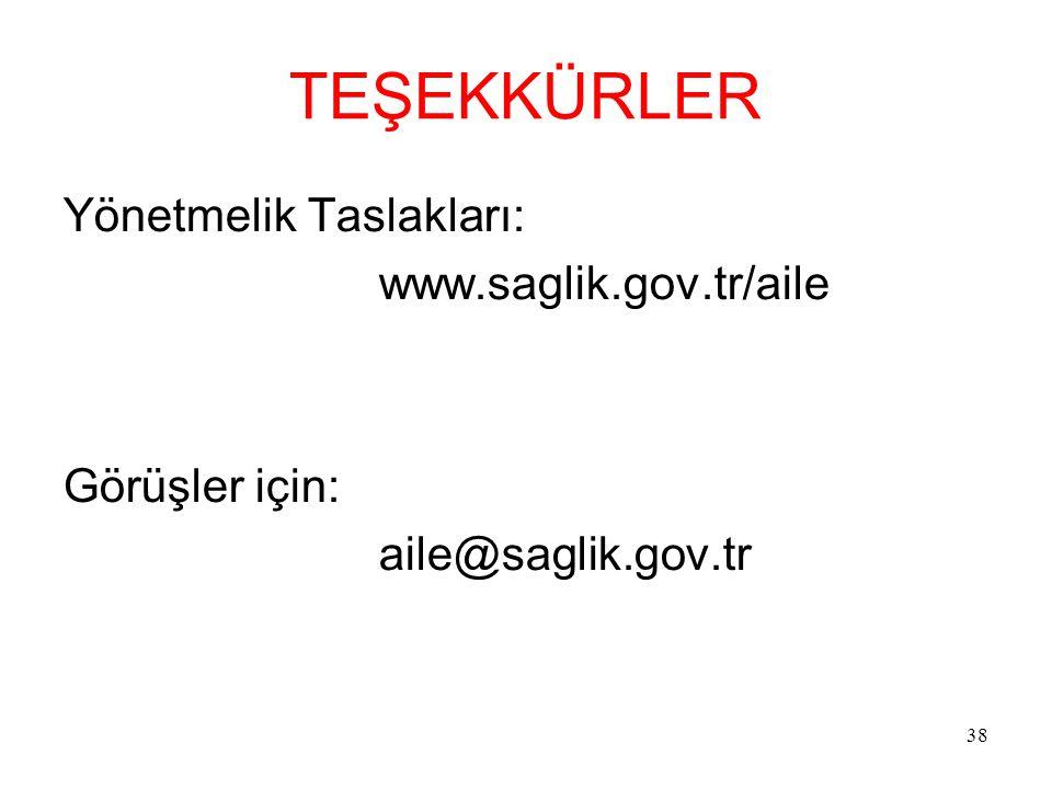38 TEŞEKKÜRLER Yönetmelik Taslakları: www.saglik.gov.tr/aile Görüşler için: aile@saglik.gov.tr