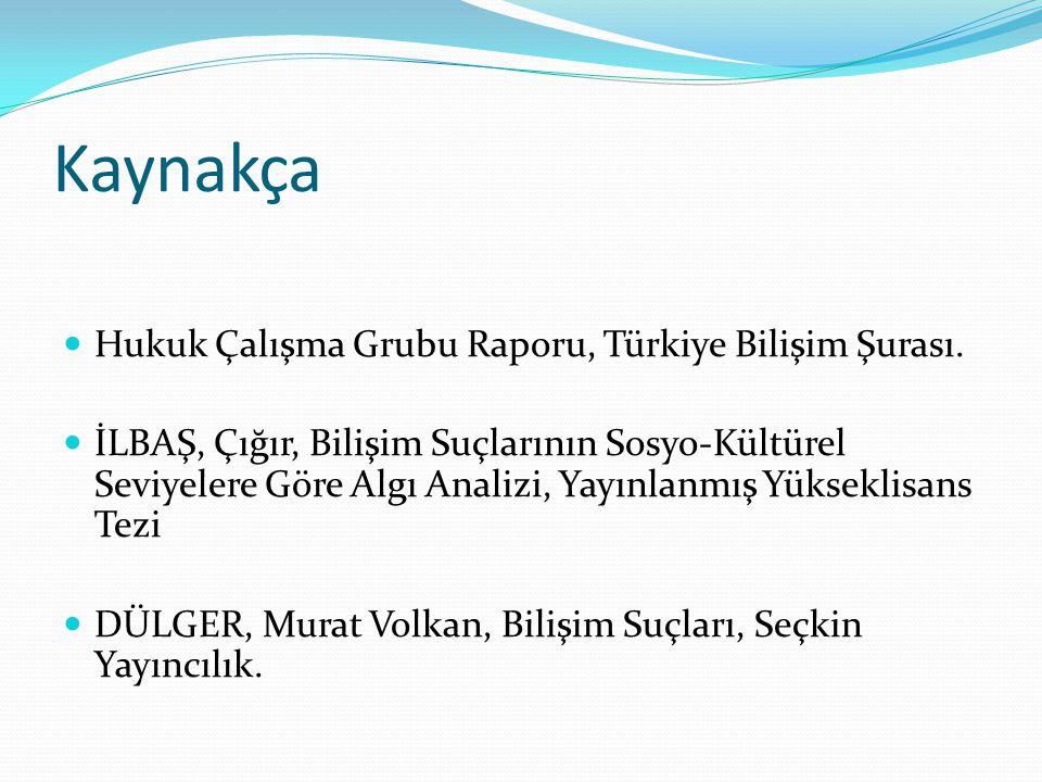Kaynakça Hukuk Çalışma Grubu Raporu, Türkiye Bilişim Şurası. İLBAŞ, Çığır, Bilişim Suçlarının Sosyo-Kültürel Seviyelere Göre Algı Analizi, Yayınlanmış