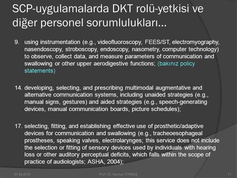 SCP-uygulamalarda DKT rolü-yetkisi ve diğer personel sorumlulukları… 9. using instrumentation (e.g., videofluoroscopy, FEES/ST, electromyography, nase
