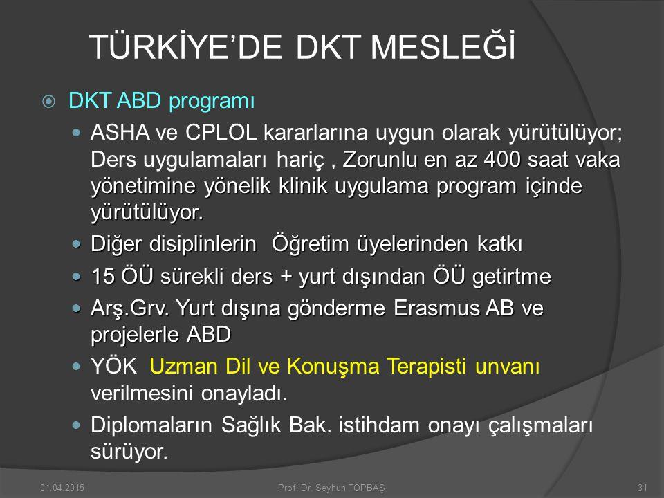 TÜRKİYE'DE DKT MESLEĞİ  DKT ABD programı Zorunlu en az 400 saat vaka yönetimine yönelik klinik uygulama program içinde yürütülüyor. ASHA ve CPLOL kar