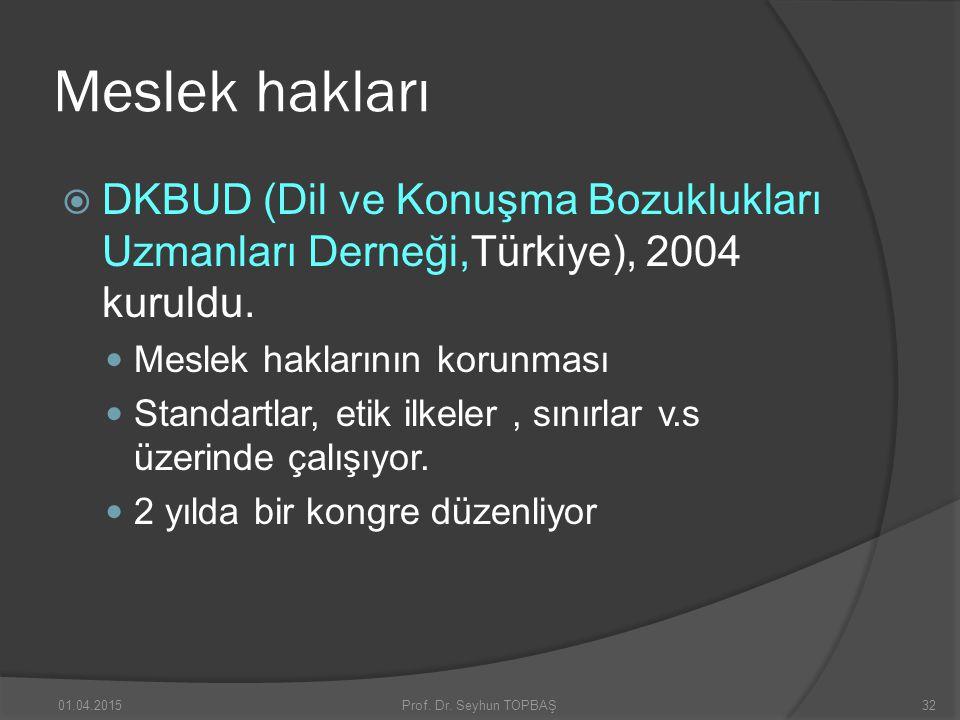 Meslek hakları  DKBUD (Dil ve Konuşma Bozuklukları Uzmanları Derneği,Türkiye), 2004 kuruldu. Meslek haklarının korunması Standartlar, etik ilkeler, s