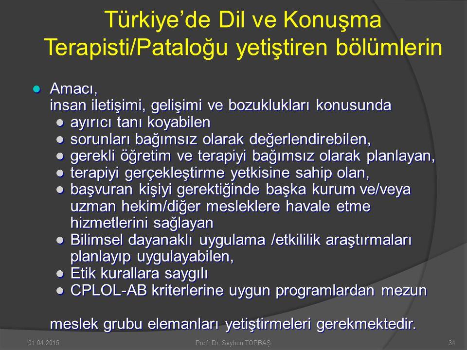 Türkiye'de Dil ve Konuşma Terapisti/Pataloğu yetiştiren bölümlerin Amacı, Amacı, insan iletişimi, gelişimi ve bozuklukları konusunda ayırıcı tanı koya